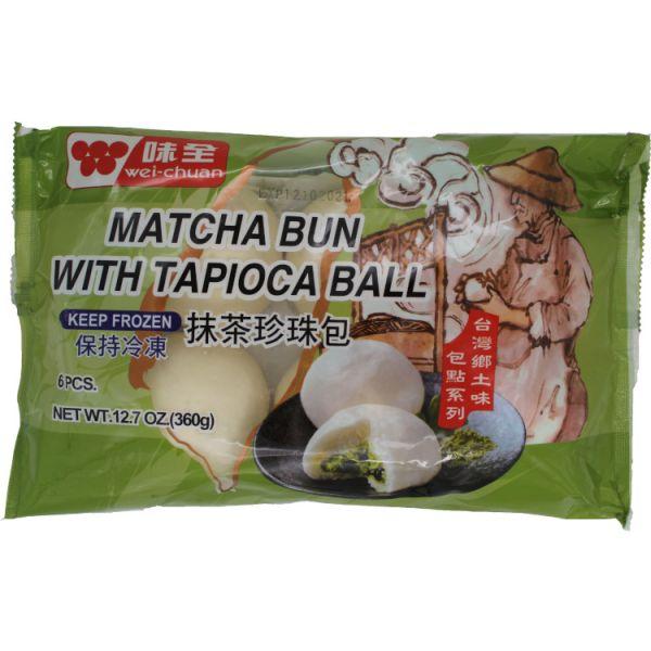 MATCHA BUN WITH TAPIOCA BALL